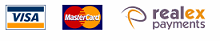 Visa, Mastercard and Realex Payments logos